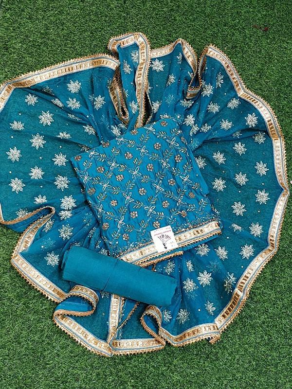Designer Blue Color Chanderi Suit With Chiffon Dupatta