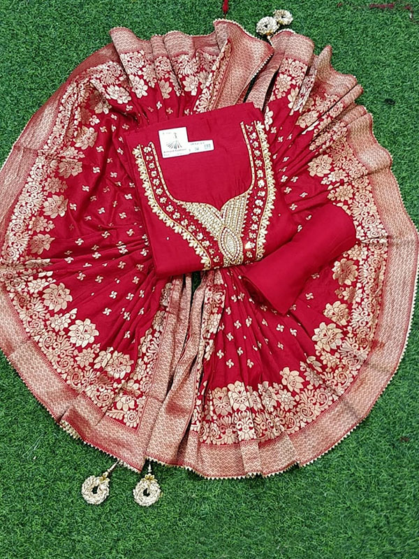 Arihant fashion Present a Red Color Chanderi Suit with senton Bottom and Banarasi Dupatta with handwork.These suit are crafted innote work embroidery work stitched mirror work.
