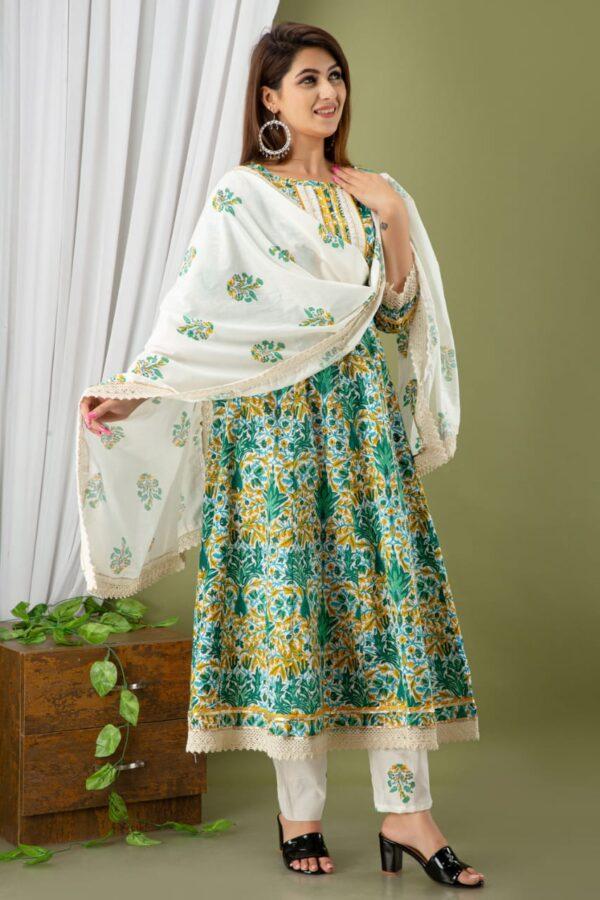 Designer Green Color Anarkali Kurtis with Pant and Dupatta