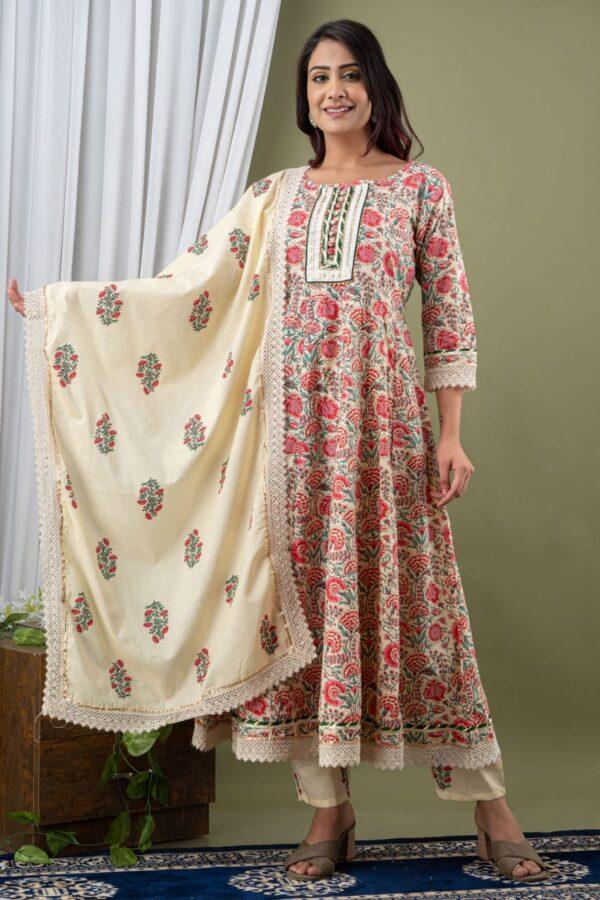 Designer Pink Color Anarkali suit with Pant and Dupatta