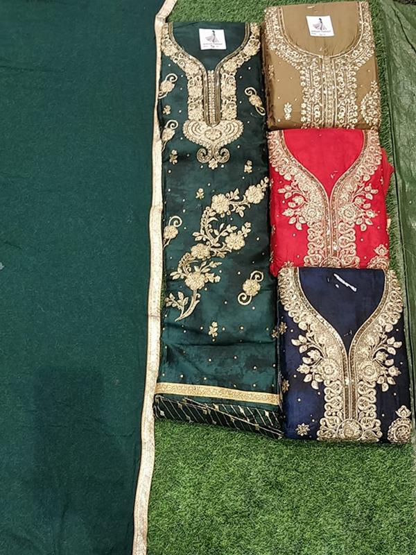 Designer Green Color Jaam Cotton Suit With Chiffon Dupatta