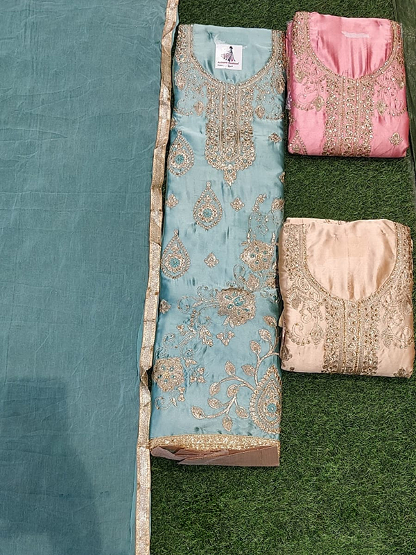 Designer Blue Color Jaam Cotton Suit With Chiffon Dupatta