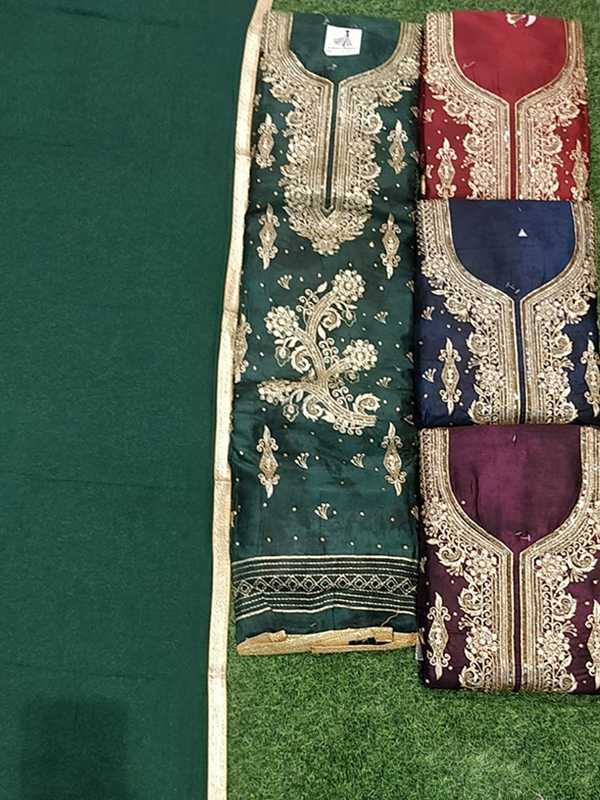 Dark Green Color Jaam Cotton Suit With Chiffon Dupatta