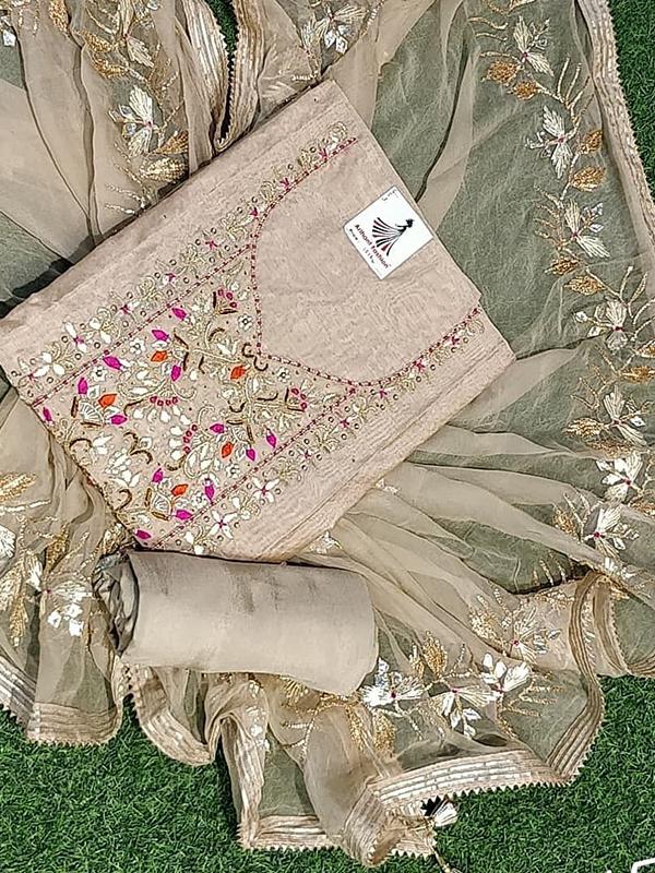 Designer Chikku Color Chanderi Suit With senton Bottom and Banarasi Dupatta