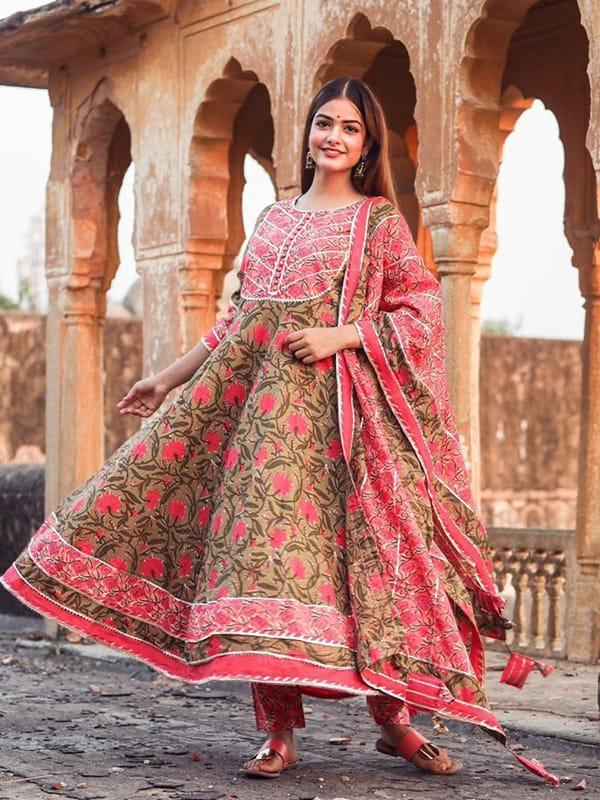 Designer Pink Shade Color Anarkali Kurti with Pant and Dupatta