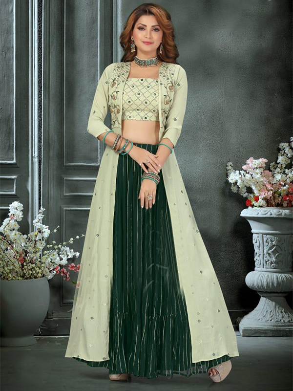 Designer Green Color Georgette Crop -top with Skirt and Dupatta
