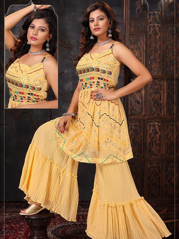 Yellow Peplum Sharara Suit with Bottom and Chiffon Dupatta