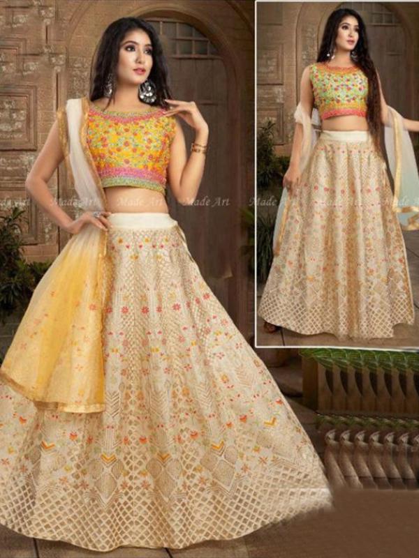 Yellow Color Crop-top with Banarasi Skirt and Dupatta