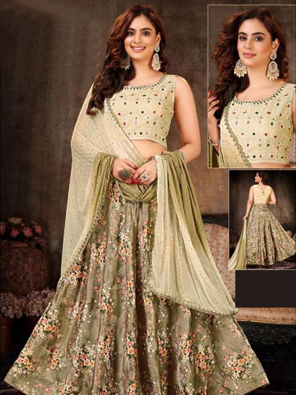 Mahandi Color Crop-top with Banarasi Skirt and Dupatta