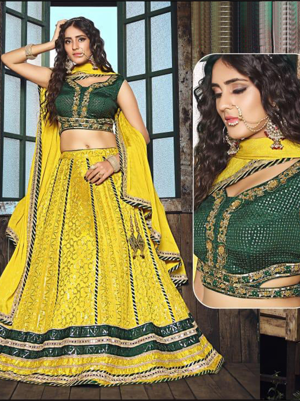 Designer Chinon Crop-top with Skirt and Net Dupatta