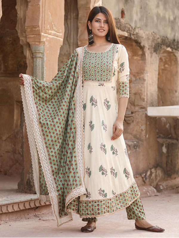 Grey Color Anarkali suit with Pant and Dupatta