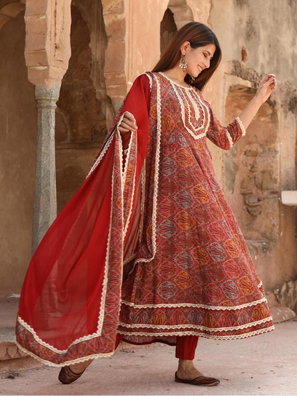 Designer Red Color Anarkali suit with Cotton Pant and Dupatta