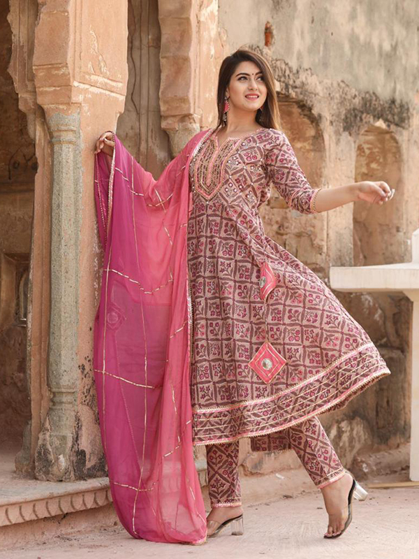 Arihant Fashion Present a designer Musted Pink Color anarkali suit with cotton pant and Cotton Dupatta.these suit Crafted in Florial Print work.