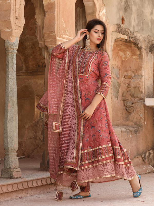 Designer Pink Shade Color Anarkali suit with Pant and Dupatta