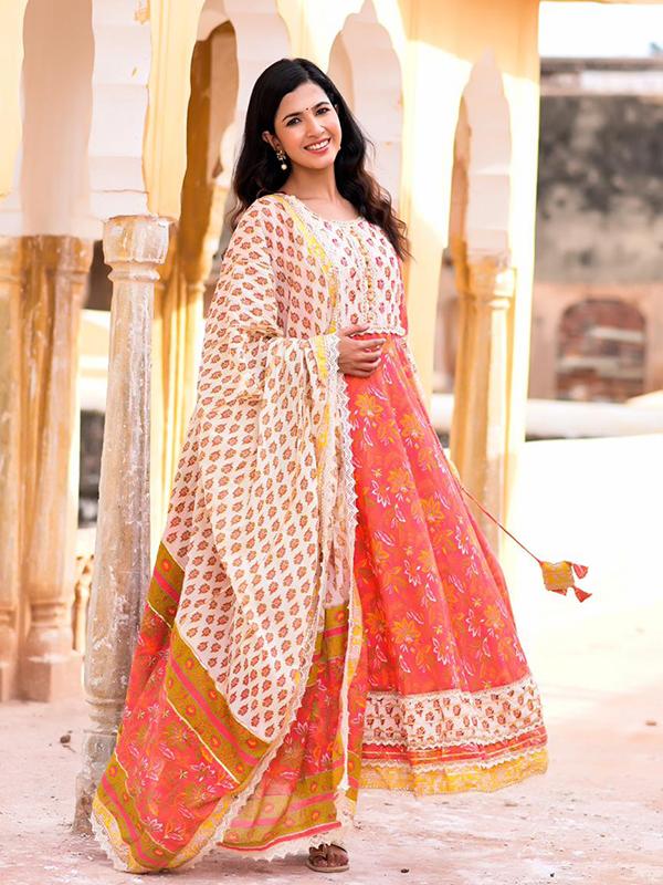 Designer Orange Color Anarkali suit with Pant and Dupatta