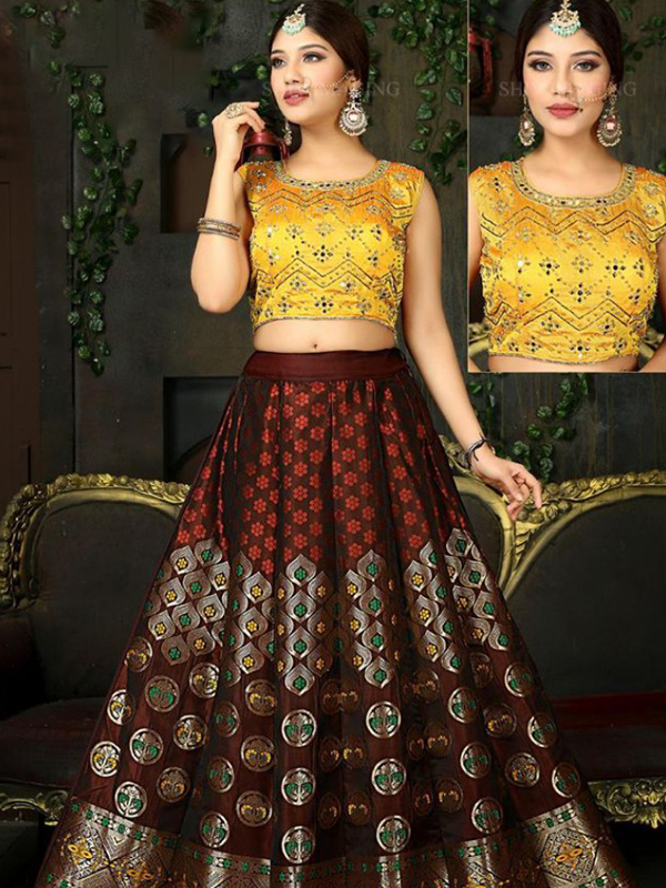 Crop Top with Skirts and Sequence thread Work.