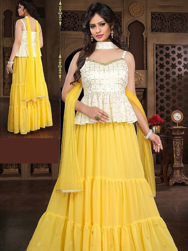White Color georgette Top With Sharara and Net Dupatta