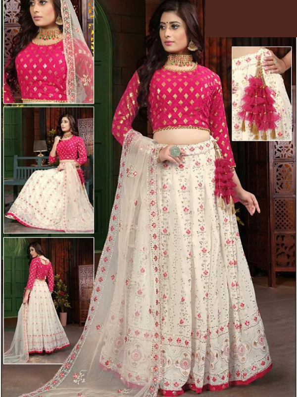 Pink Color georgatte Top With Lehanga and Net Dupatta