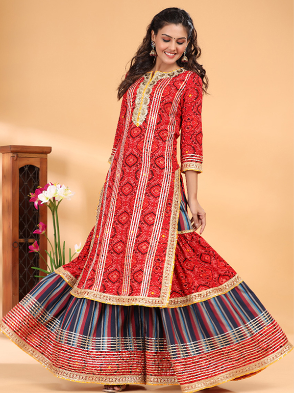 red Peplum Sharara Suit with Cotton Bottom and Dupatta