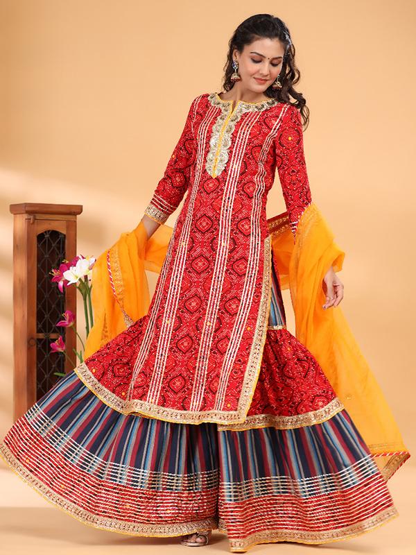 Red Peplum Sharara Suit with Cotton Bottom and Chiffon Dupatta