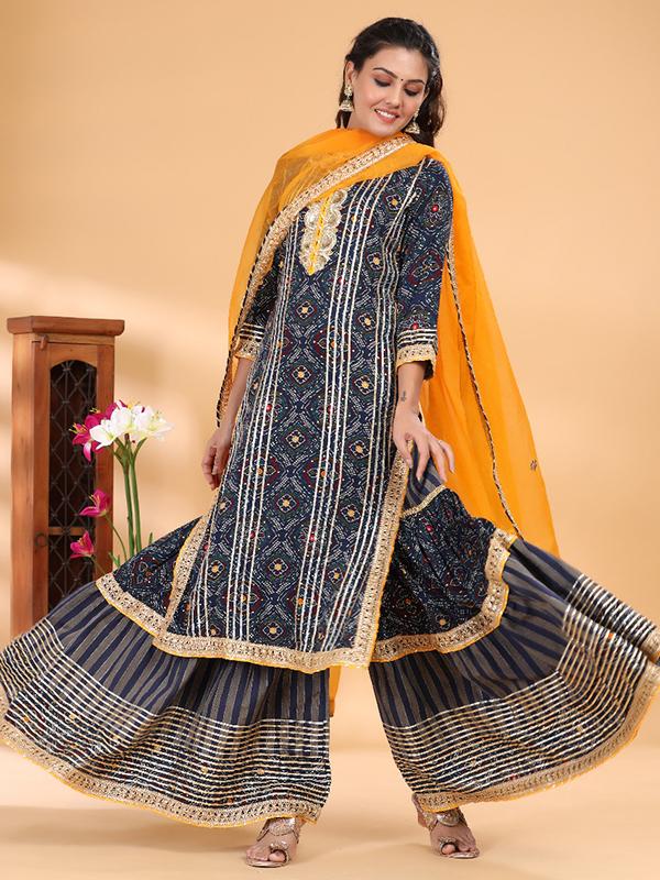 Designer Grey Peplum Sharara Suit with Cotton Bottom and Chiffon Dupatta