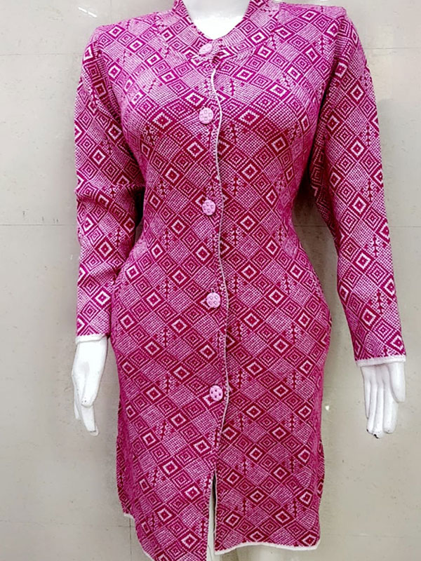 Designer Pink Color Woolen Kurti for Women