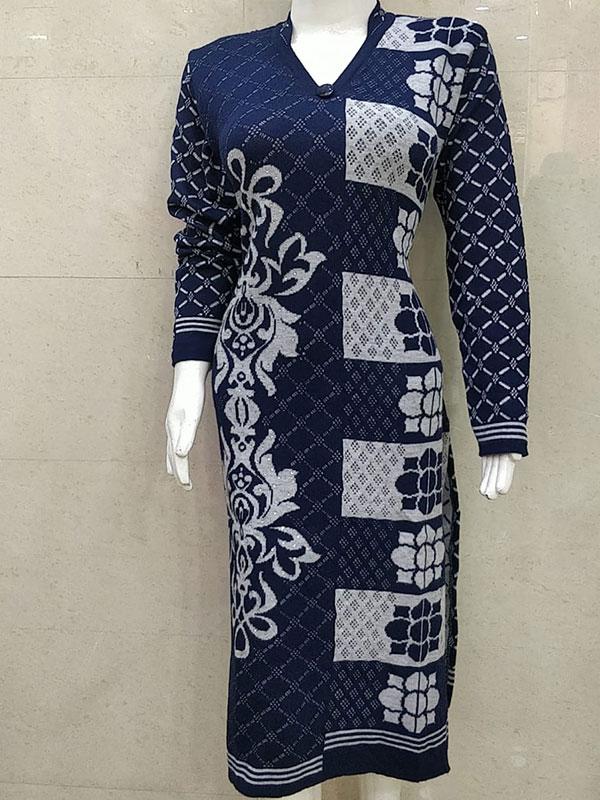 Designer Blue Color Woolen Kurti for Women