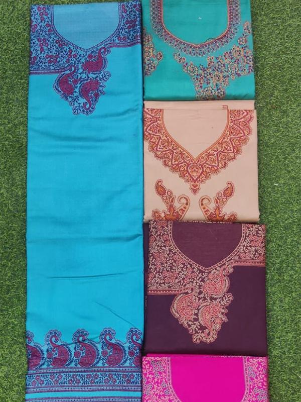 Designer Blue Color Pashmina Suit with Florial work stole (Pcs - 5 )