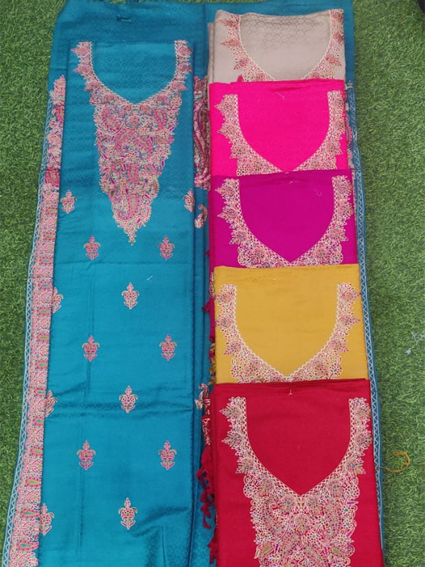 Designer Sky Blue Color Pashmina Suit with Florial work stole Pcs - 6