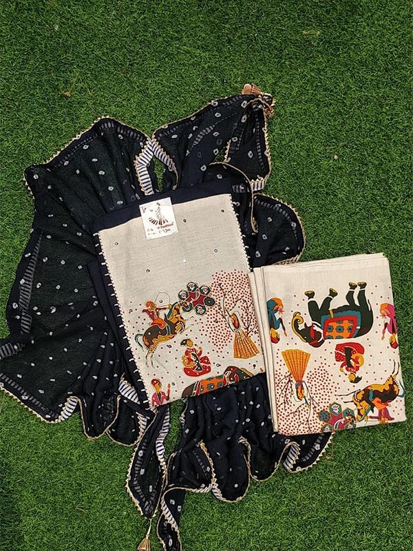 Designer Blue Color Cotton Suit With Bottom and Dupatta