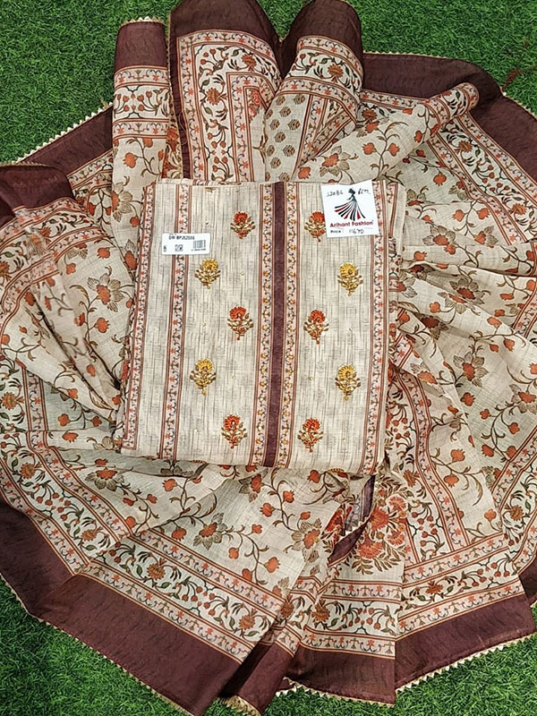 Brown Modal Chanderi Suit With Bottom and Cotton Dupatta